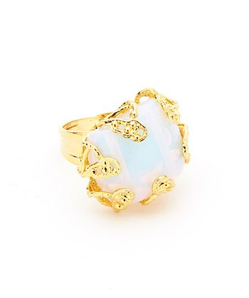 Moonstone & Gold Antiqued Ring