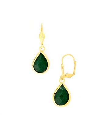 Green Chalcedony & Gold Drop Earrings