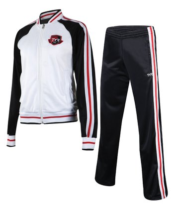 Black & Red Stripe Warm-Up Jacket & Track Pants- Women