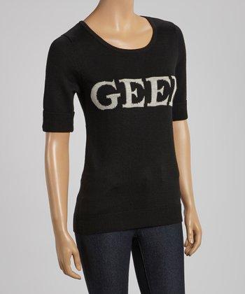 Black 'Geek' Short-Sleeve Sweater