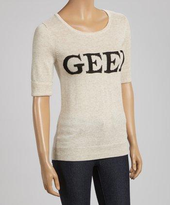 Oatmeal 'Geek' Short-Sleeve Sweater