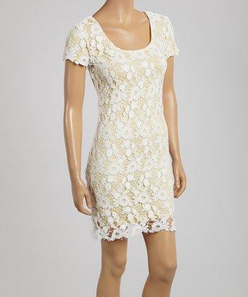 Yellow & Ivory Crochet-Overlay Scoop Neck Dress