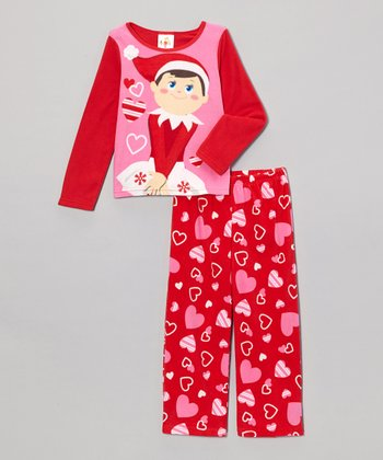 Pink Heart Elf on the Shelf Pajama Set - Toddler & Girls