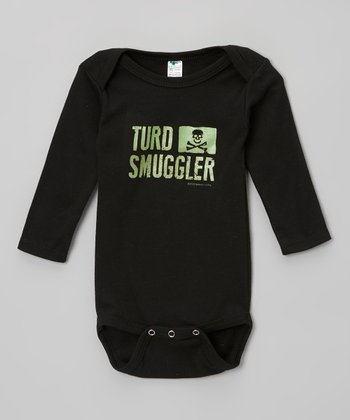 Black & Green 'Turd Smuggler' Bodysuit - Infant