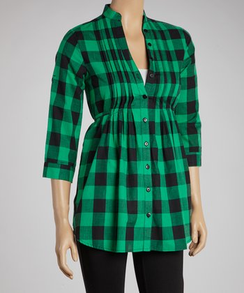 Green & Black Buffalo Check Three-Quarter Sleeve Button-Up