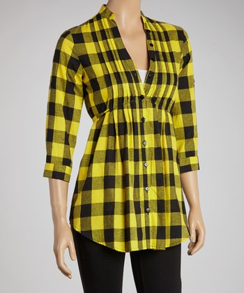 Yellow & Black Buffalo Check Three-Quarter Sleeve Button-Up
