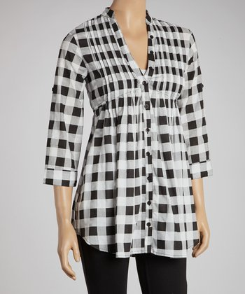 White & Black Buffalo Check Three-Quarter Sleeve Button-Up