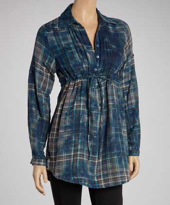 Brown & Blue Faded Plaid Button-Up Tunic