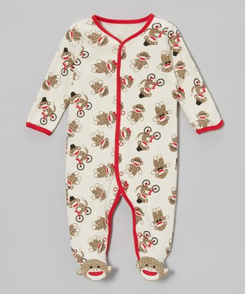 Brown & White Sock Monkey Footie - Infant