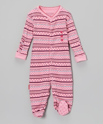 Pink Stripe Girly Girl Footie - Infant