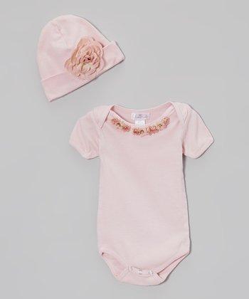Truffles Ruffles Warm Blush Floral Neckline Bodysuit & Beanie