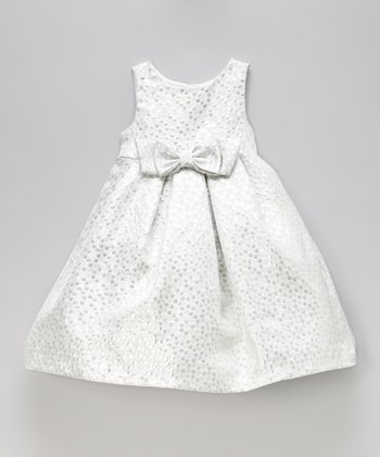 Silver Polka Dot Bow Dress - Toddler