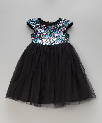 Black Rainbow Sequin Bodice Dress - Toddler & Girls