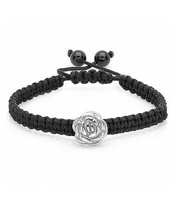 Stainless Steel & Black Rose Bracelet