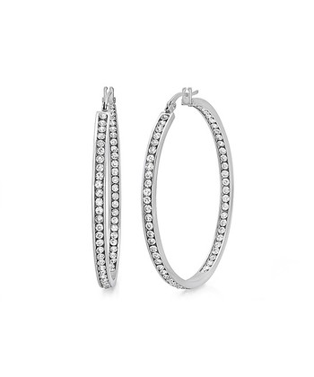 Simulated diamond & Stainless Steel Sparkle Channel Hoop Earrings