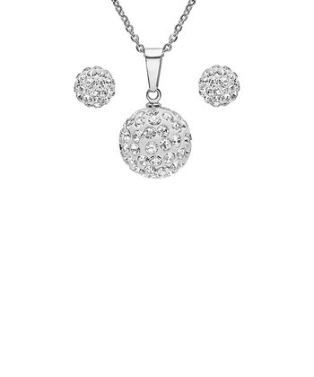 Stainless Steel Sparkle Ball Pendant Necklace & Stud Earrings