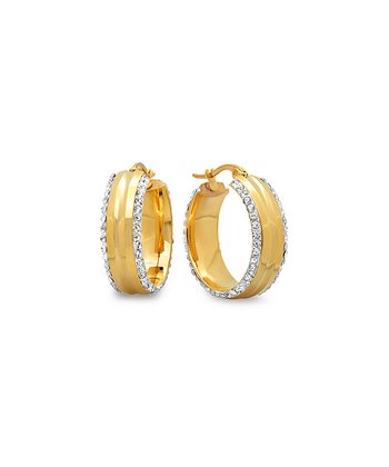 Yellow Gold Sparkle Simulated Diamond Wide Hoop Earrings