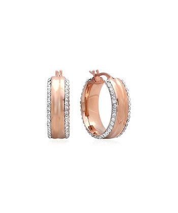 Rose Gold Sparkle Simulated Diamond Wide Hoop Earrings