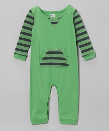 Lake Park Kids Rugby Green Stripe Romper - Infant