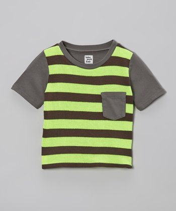 Neon Yellow & Gray Stripe Pocket Tee - Infant
