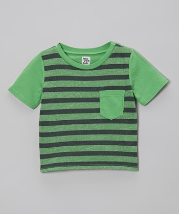 Lake Park Kids Rugby Green Stripe Pocket Tee - Infant