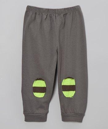 Gray & Neon Yellow Stripe Patch Pants - Infant