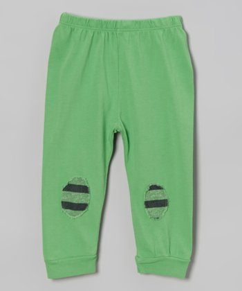 Rugby Green Stripe Patch Pants - Infant