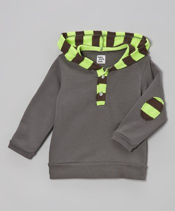 Lake Park Kids Gray & Neon Yellow Stripe Pullover Hoodie - Infant