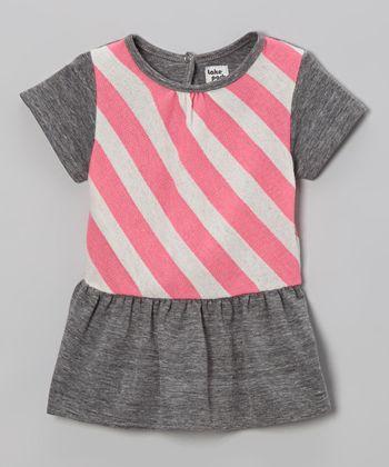 Gray & Neon Pink Stripe Peplum Top - Infant