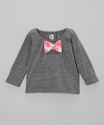 Gray & Neon Pink Stripe Bow Top - Infant