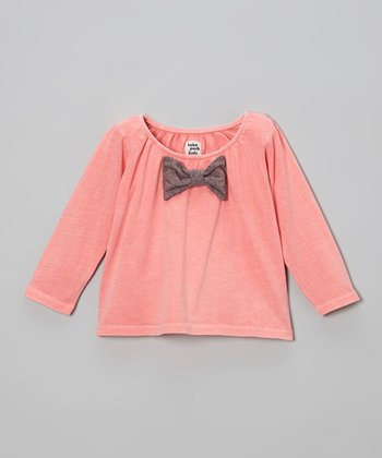 Flamingo Pink Bow Top - Infant
