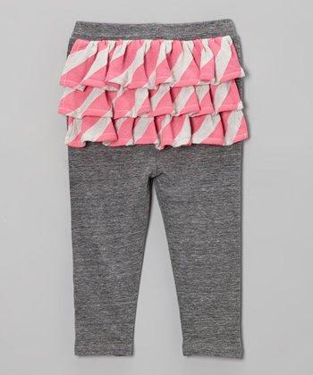 Gray & Neon Pink Stripe Ruffle Pants - Infant