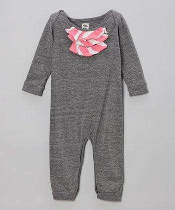 Gray & Neon Pink Stripe Ruffle Romper - Infant