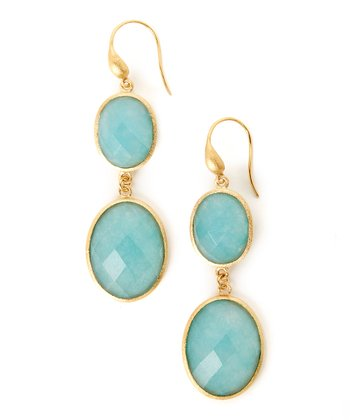 Caribbean Blue Quartzite & Gold Oval Earrings