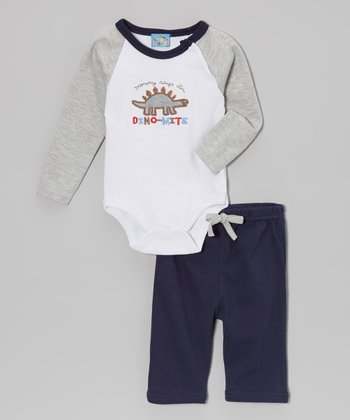 Sweet & Soft Gray 'Dino-Mite' Bodysuit & Navy Pants - Infant