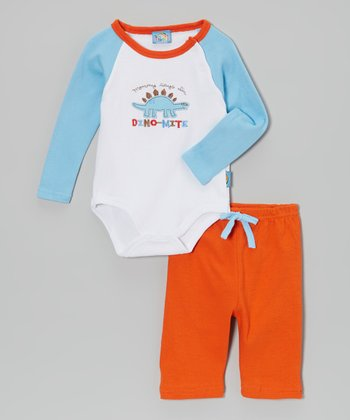 Sweet & Soft Light Blue 'Dino-Mite' Bodysuit & Orange Pants - Infant