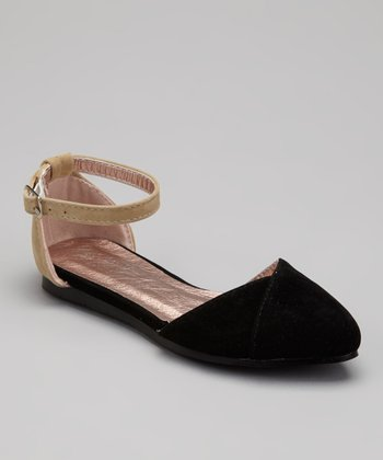 Black Ankle Strap Flat