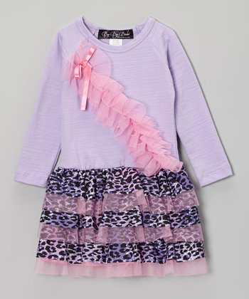 Purple Leopard Ruffle Drop-Waist Dress - Toddler & Girls