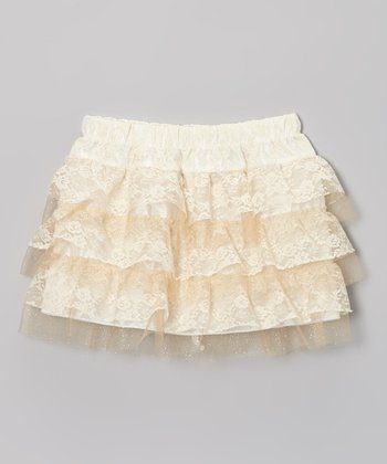 Crème Lace Tiered Ruffle Skirt - Toddler & Girls