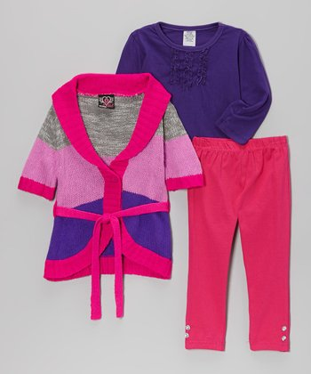 Purple & Pink Shawl Collar Sweater Set - Infant & Toddler