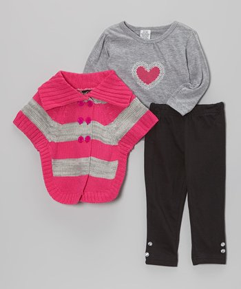 Pink & Gray Stripe Sweater Set - Infant, Toddler & Girls