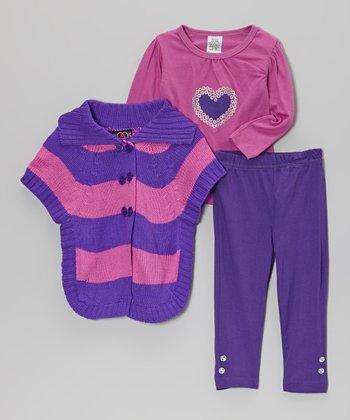Pink & Purple Stripe Sweater Set - Infant, Toddler & Girls