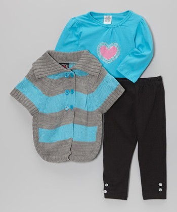 Teal & Gray Stripe Sweater Set - Infant, Toddler & Girls