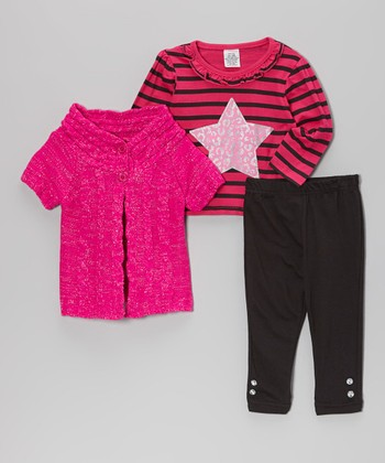 Pink & Black Short-Sleeve Sweater Set - Infant, Toddler & Girls
