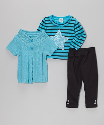 Bright Teal & Black Short-Sleeve Sweater Set - Infant, Toddler & Girls