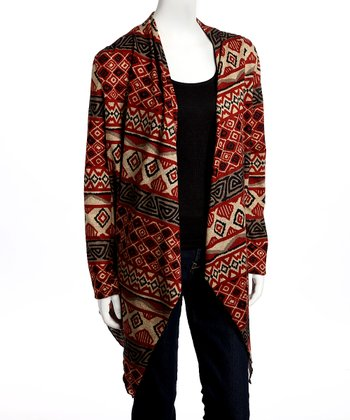 Rust Geometric Open Cardigan