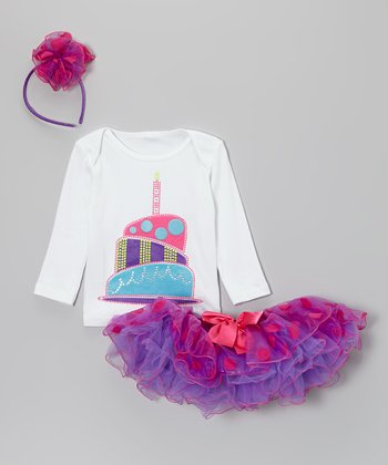 Purple Polka Dot One Candle Pettiskirt Set - Infant & Toddler