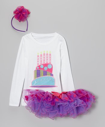 Purple Polka Dot Four Candles Pettiskirt Set - Girls