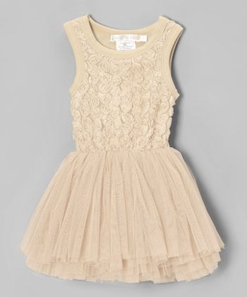 Champagne Rosette Tulle Tutu Dress - Infant, Toddler & Girls
