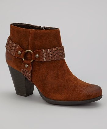 Brown Suede Lacey Bootie